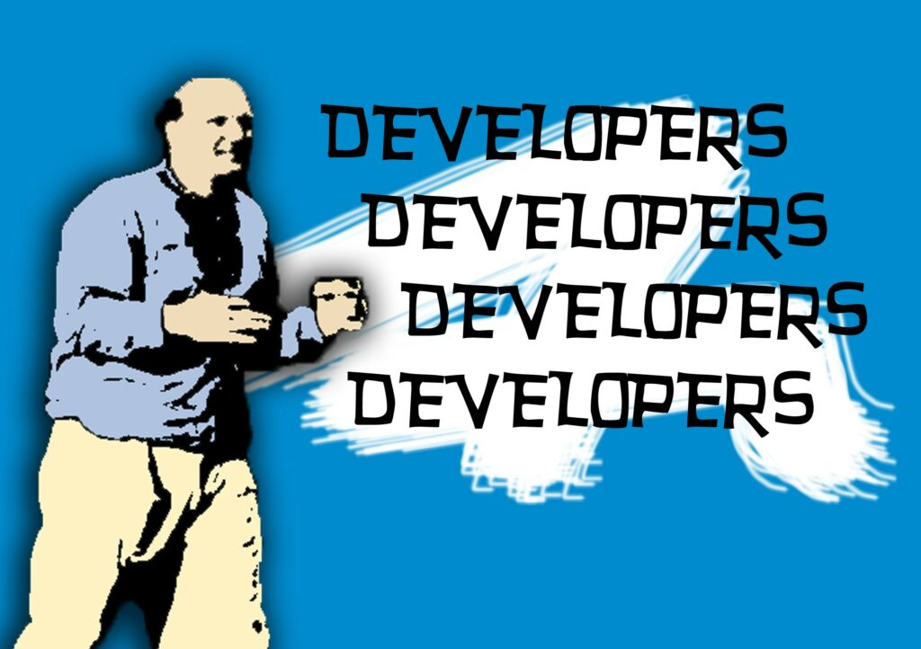 Steve Ballmer is screaming for developers