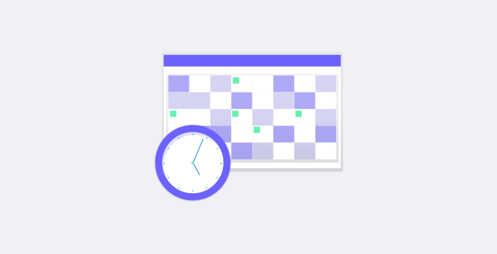 A calendar and a clock
