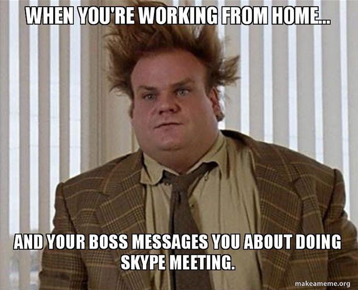 funny man on Skype meeting