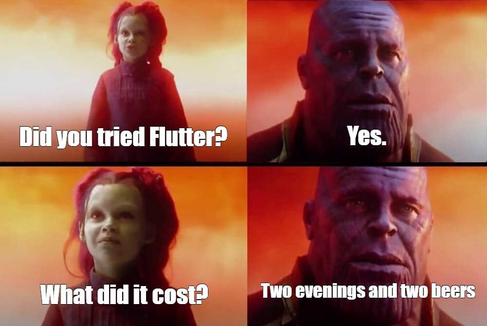 flutter questions - what did it cost you? - joke